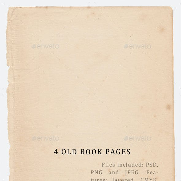 4 old book page textures