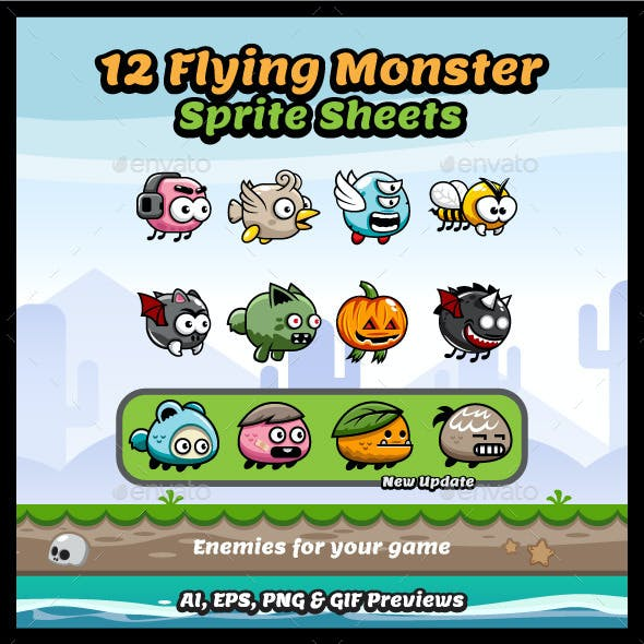 12 Flying Monster Sprite Sheets