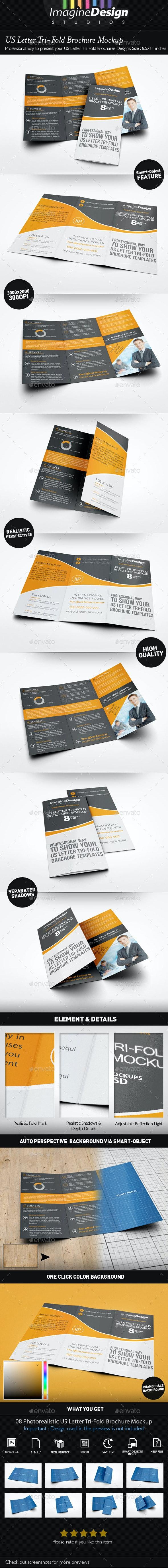 US Letter Tri-Fold Brochure Mockup - Brochures Print