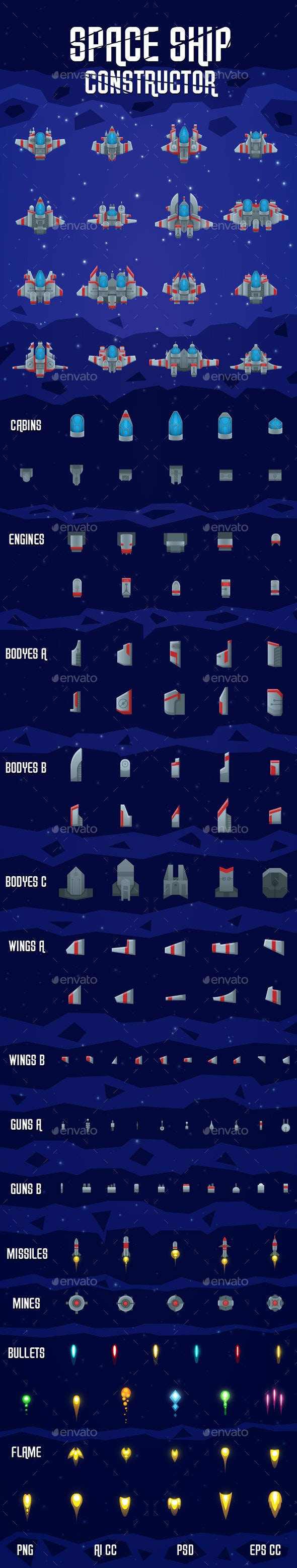 Space Shooter Ship Constructor - Game Kits Game Assets