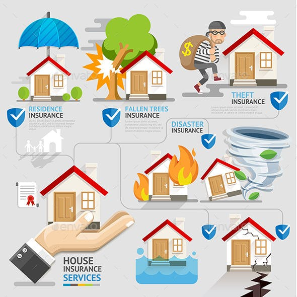 House Insurance Service Icons Template.