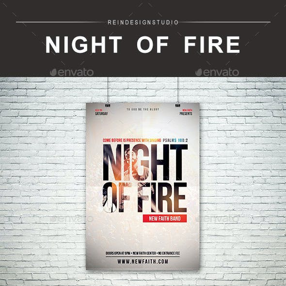 Night of Fire Church Flyer