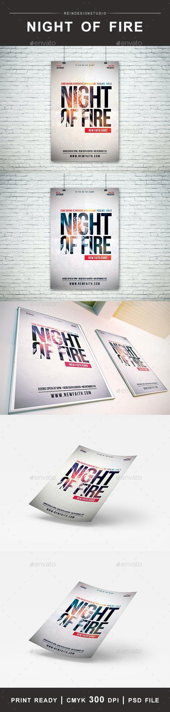 Night of Fire Church Flyer - Church Flyers