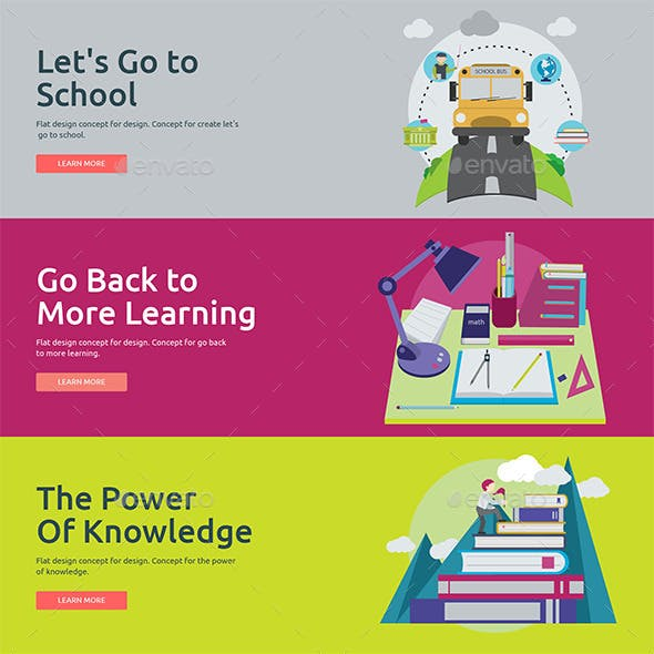 Flat Concept Banners for Education