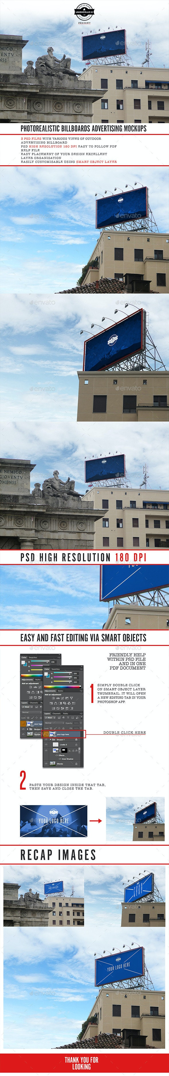 3 Photorealistic Rooftop Billboard Mockups - Product Mock-Ups Graphics