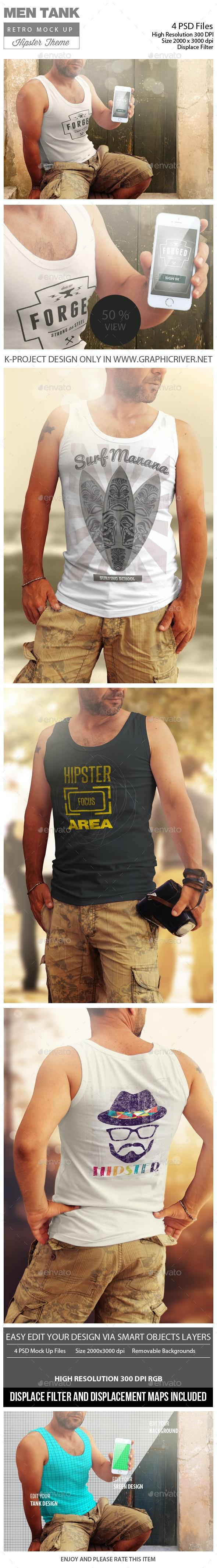 Men Tank Retro Mock Up - T-shirts Apparel