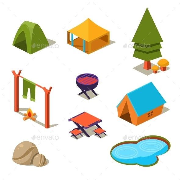 Isometric 3d Forest Camping Elements For Landscape
