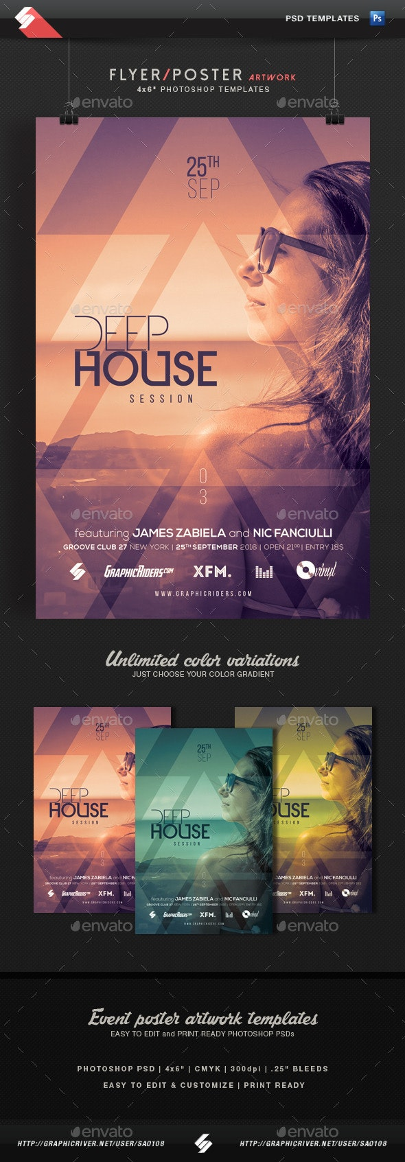 Deep House Session 3 - Event Flyer Template - Clubs & Parties Events
