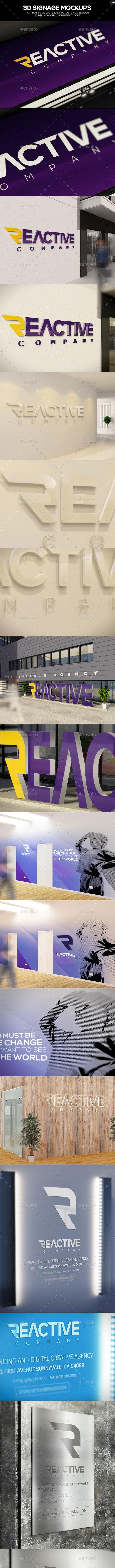 3D Signage Mockups - Logo Product Mock-Ups