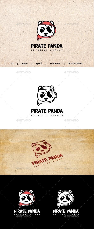 Pirate Panda Logo Template - Animals Logo Templates