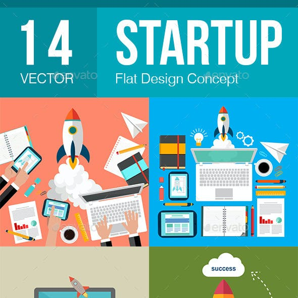 14 Startup Flat Design Concept