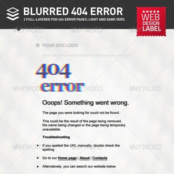 Blurred 404 Error Page