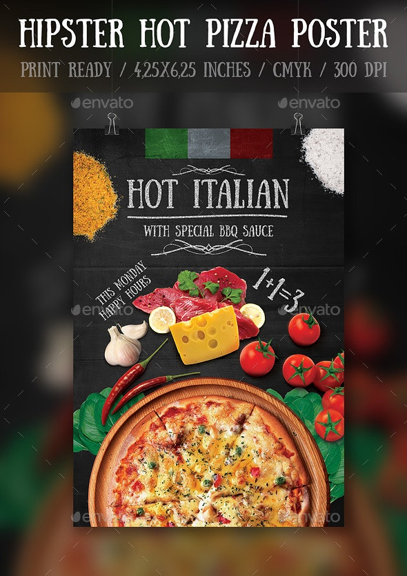 Hipster Hot Pizza Party Flyer\Poster Template - Events Flyers