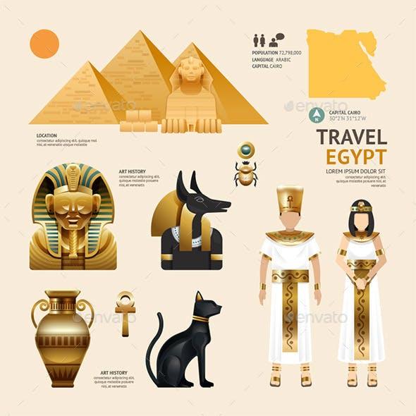 Egypt Flat Icons Design Travel Concept.