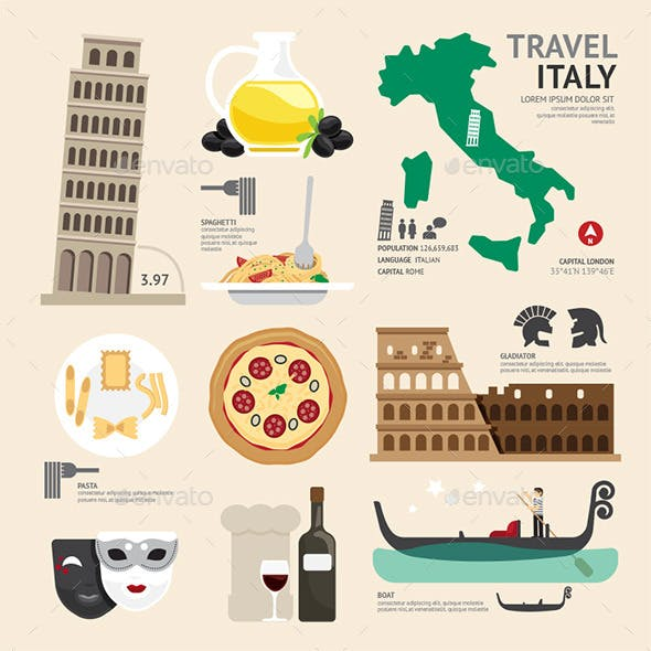 Italy Flat Icons Design Travel Concept