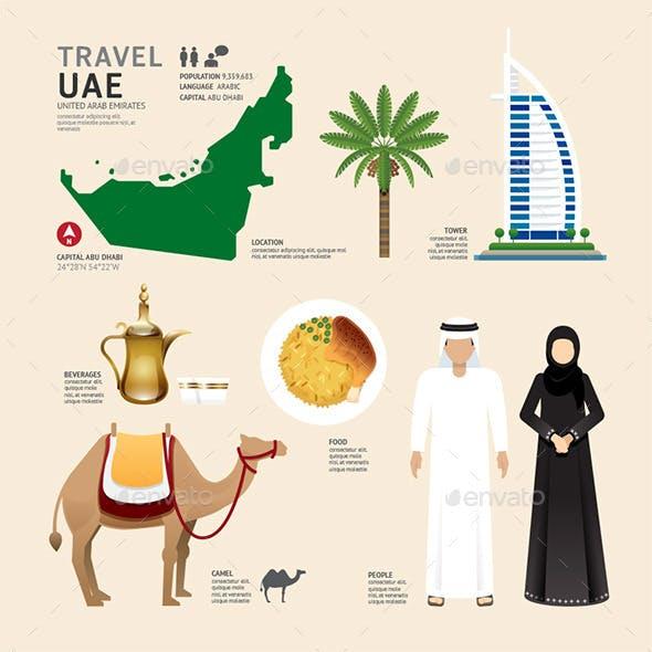 UAE United Arab Emirates Flat Icons Design