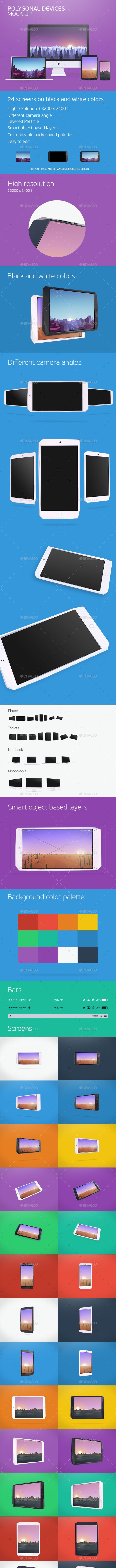 Polygonal Devices Mock-up - Displays Product Mock-Ups