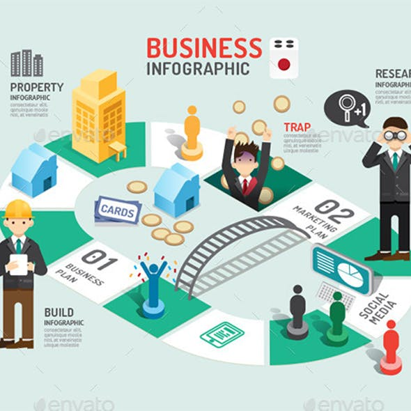 Business Board Game Concept Infographic