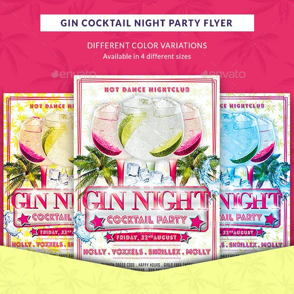 Gin Cocktail Nights Party Flyer