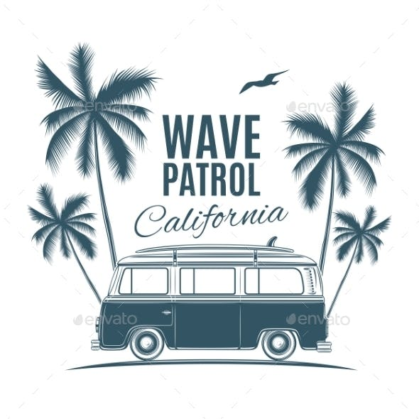 Vintage Van with Palms and a Gull