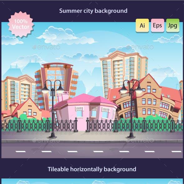 Seamless tileable texture summer town