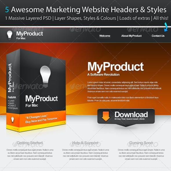5 Marketing Website Headers & Styles