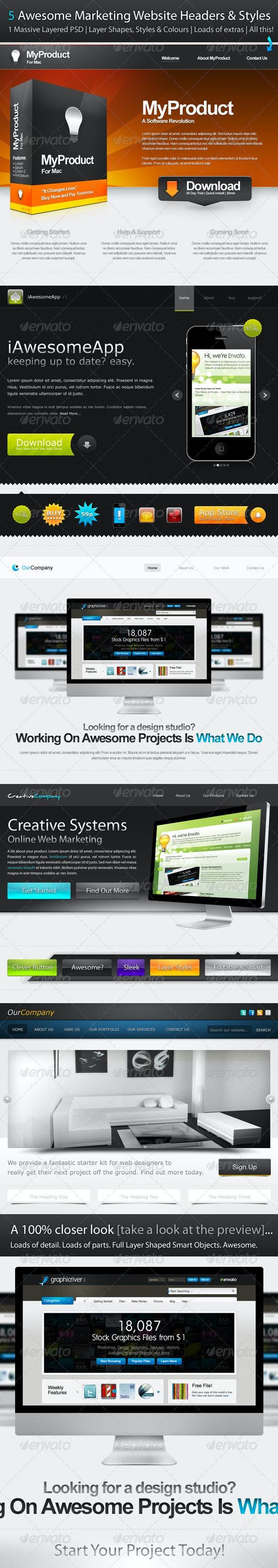 5 Marketing Website Headers & Styles - Miscellaneous Web Elements