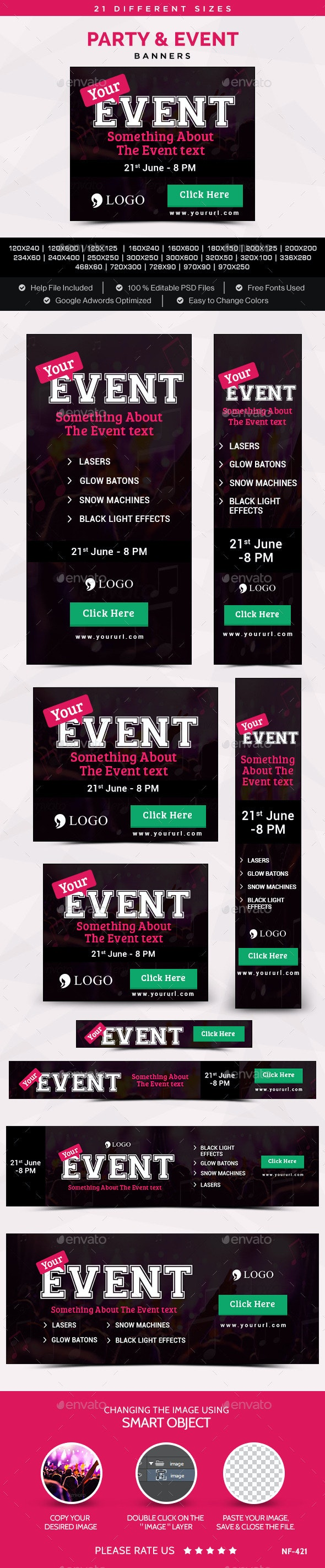 Party & Event Banners - Banners & Ads Web Elements