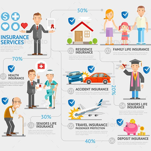 Business Insurance Character and Icons Template.