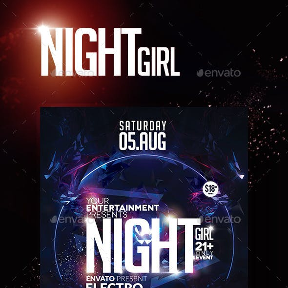 Flyer Night Girl Party New