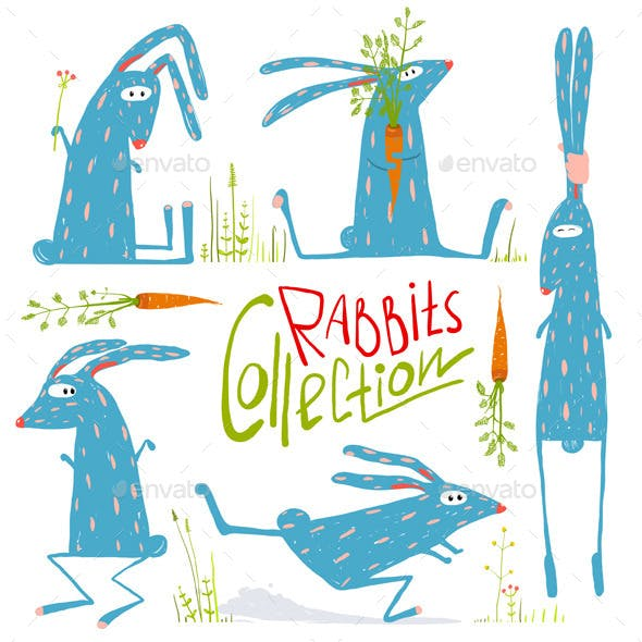 Cartoon Rabbits Animals Collection for Kids