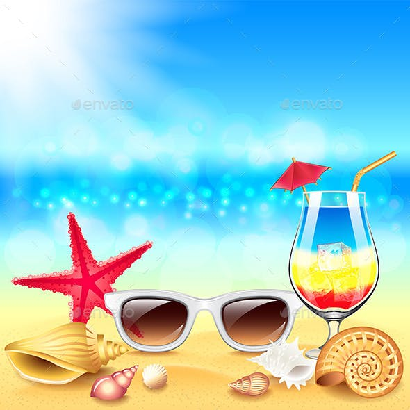 Summer Holidays Beach Vector Background