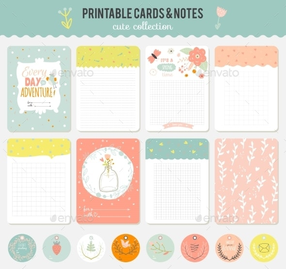 Cute Set Of Cards, Notes And Stickers. - Seasons Nature