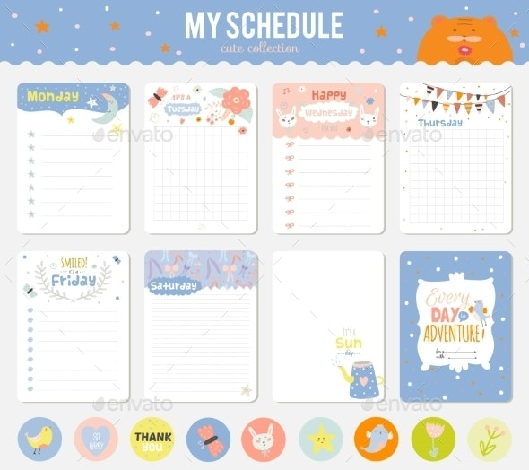 Set Of Cute Cards, Notes And Stickers - Backgrounds Decorative