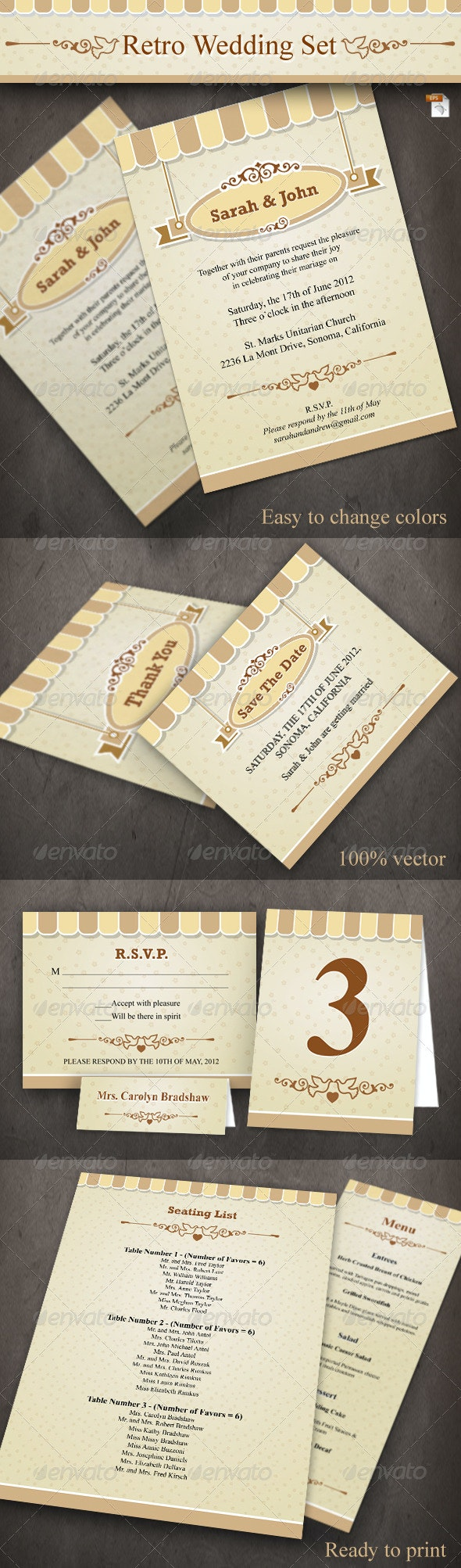 Retro Wedding Set - Weddings Cards & Invites