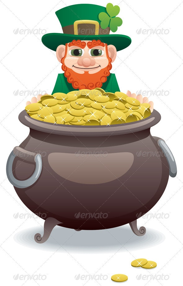 Leprechaun and Pot of Gold - Seasons/Holidays Conceptual