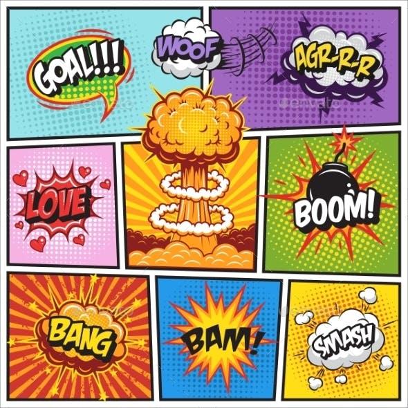 Set of Comics Speech and Explosion Bubbles 2