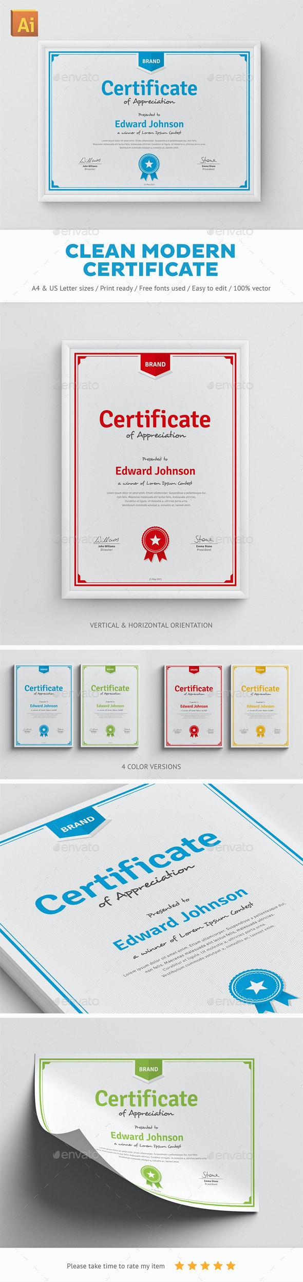 Clean Modern Certificate - Certificates Stationery