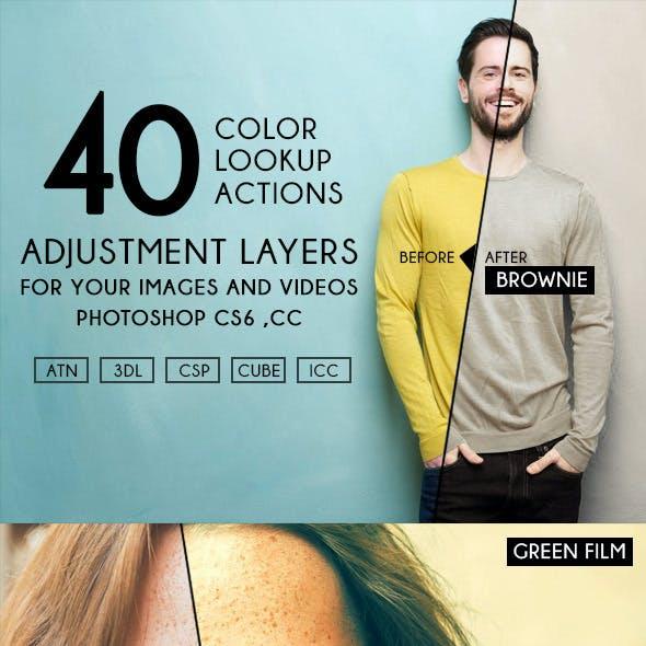 40 Color Adjustment Lookup Actions LUTs
