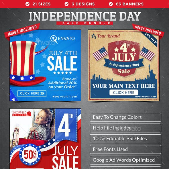 Independence Day Banners Bundle - 3 Sets