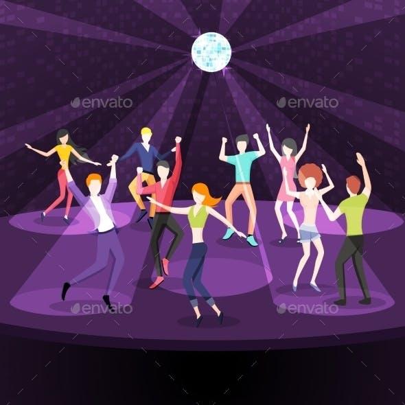 People Dancing In Nightclub. Dance Floor Flat