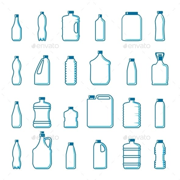 Vector Plastic Bottles In Outline Style