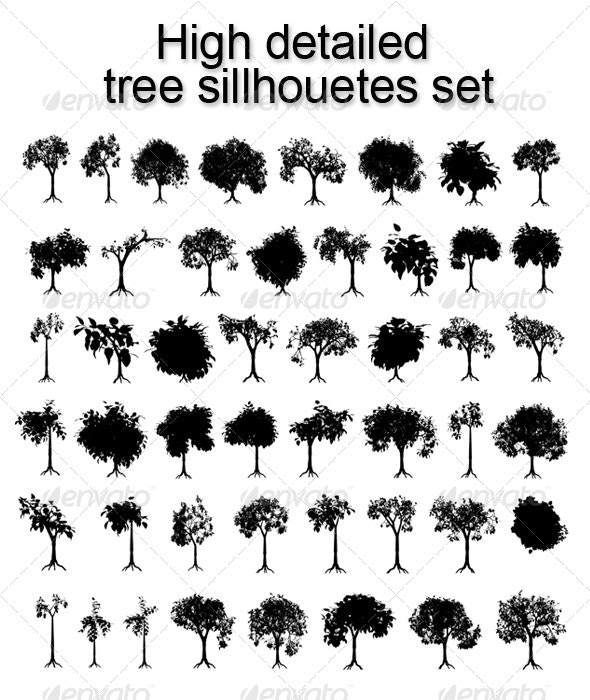 High detailed tree sillhouetes set - Flowers & Plants Nature