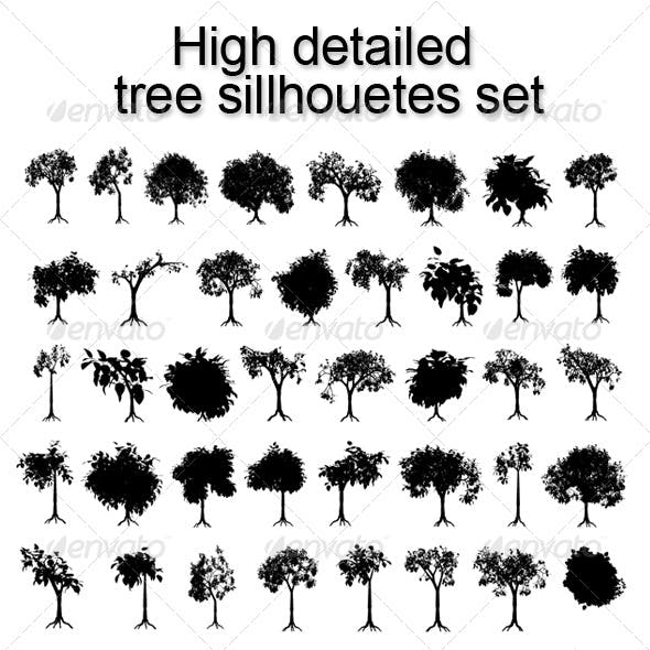 High detailed tree sillhouetes set