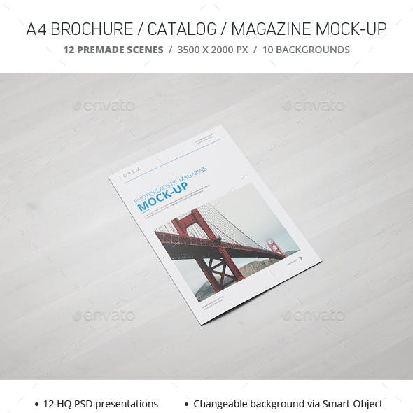 A4 Brochure / Catalogue / Magazine Mockup