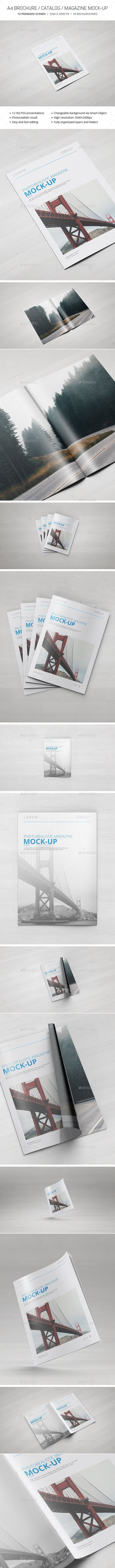 A4 Brochure / Catalogue / Magazine Mockup - Brochures Print