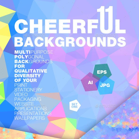 11 Vector Colorful Polygonal Backgrounds