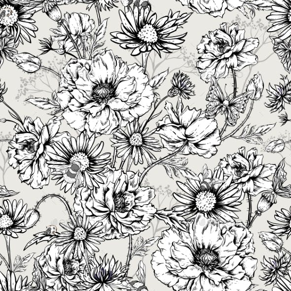 Monochrome Floral Seamless Pattern With Blooming