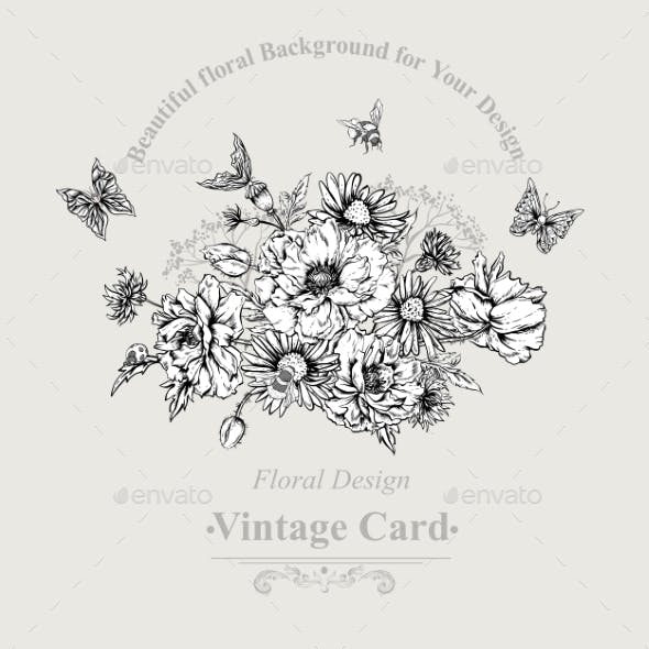 Summer Monochrome Vintage Greeting Card