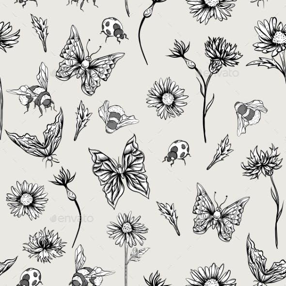Summer Monochrome Vintage Floral Seamless Pattern